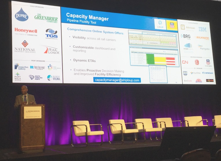 Kenny Rocker announces the new Capacity Manager functionality at the Petrochemical Supply Chain & Logistics conference in Houston