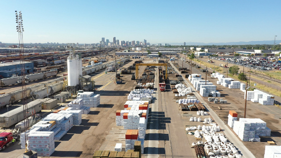 Aerial view of the Denver Railport transloading facility